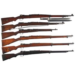 Six Military Bolt Action Longarms -A) Rare Mauser M98/29 Persian Bolt Action Long Rifle with Bayonet
