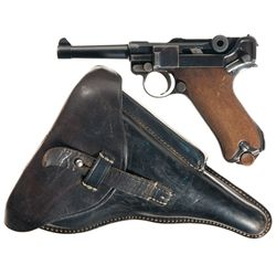 1920 DWM Blank Chamber Commercial Luger Semi-Automatic Pistol with Holster