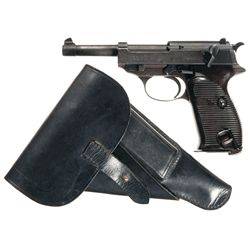 "Walther ""ac/41"" P-38 Semi-Automatic Pistol with Holster and Extra Magazine"