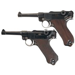 Two Luger Pistols -A) 1908 DWM Luger Semi-Automatic Pistol with Two Extra Magazines