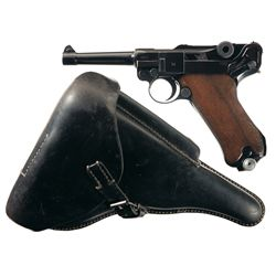 Scarce Mauser 42 Code 41 Date Luger Semi-Automatic Pistol with Matching Magazine and Holster