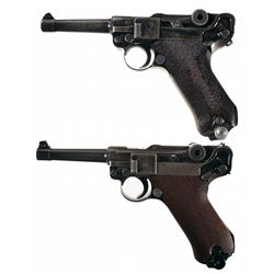 Two Mauser Luger Semi-Automatic Pistols -A) Mauser S/42 Code 1938 Dated Luger Semi-Automatic Pistol