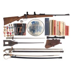 Mauser Model 98 Bolt Action Rifle with Two Swords and an Assortment of Accessories