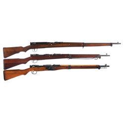 Three Japanese Bolt Action Military Rifles -A) Type 99 Contract Bolt Action Rifle