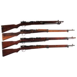 Four WWII Japanese Bolt Action Longarms -A) Kokura Type 44 Bolt Action Carbine with Bayonet