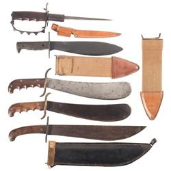 Five U.S. Military Knives and Machetes