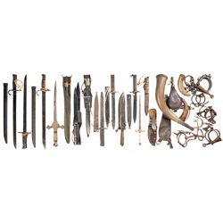 Grouping of Edged Weapons with Miscellaneous Items Including Powder Horns and Antique Handcuffs