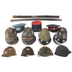 Assortment of Military Helmets, Hats, and Belts