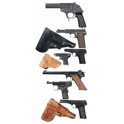 One German Flare Pistol and Six Semi-Automatic Pistols -A) German Flare Pistol