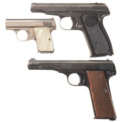 Three Semi-Automatic Pistols -A) Browning Baby Semi-Automatic Pistol
