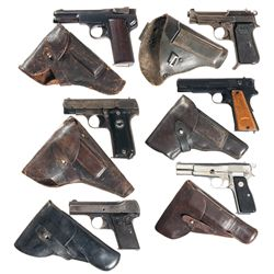 Six European Semi-Automatic Pistols with Holsters-A) Friedrich Langenhan Army Model Semi-Automatic P