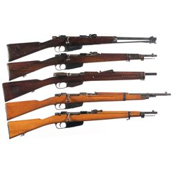 Five Military Bolt Action Longarms -A) 1938 Carcano Bolt Action Carbine with Folding Bayonet
