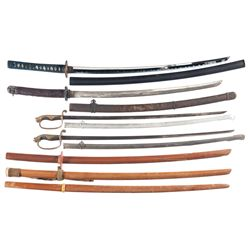 Four Japanese-Style Swords and Three Wooden Training Swords