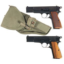 Two Belgian High Power Pistols -A) Fabrique Nationale High Power Semi-Automatic Pistol with Holster