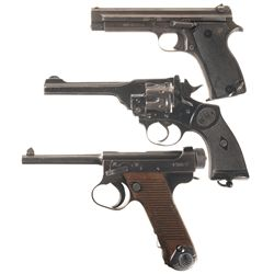 Three WWII Hand Guns -A) French Model 1935A Semi-Automatic Pistol
