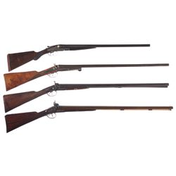 Four Side by Side Shotguns -A) Baker Gun Co. Side by Side Damascus Shotgun