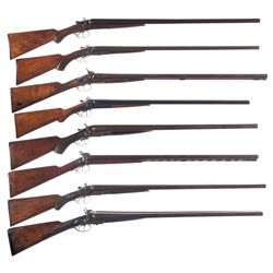 Eight Side by Side Shotguns -A) Moore Side by Side Damascus Hammer 10 Gauge Shotgun