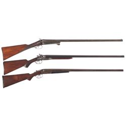 Three Shotguns -A) W. Richards Side by Side Back Action Hammer Shotgun