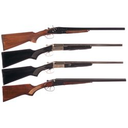 Four Side by Side Shotguns -A) Khan Model Coach Gun Side by Side Hammer Shotgun