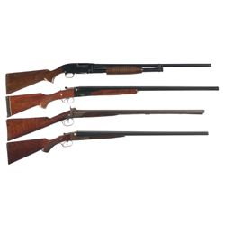 One Slide Action and Three Side by Side Shotguns -A) Winchester Model 12 Slide Action Shotgun