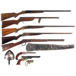 Five Long Guns and One Pistol -A) Boito Side by Side Hammerless Shotgun