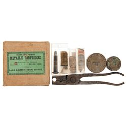Box of Sage Ammunition Works Spencer Model 1865 Cartridges, Bullet Mold, Cap Tins and Antique Ammuni