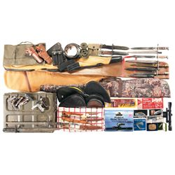 Grouping of Soft Gun Cases, Knives, Bayonets, Holsters, Reloading Dies and Ammo Cans