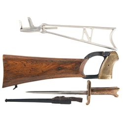 Two Shoulder Stocks and Webley MK VI Revolver Bayonet