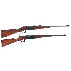 "Two Savage Model 99 Lever Action Rifles -A) Savage A Series Model 99A Lever Action ""Saddle Gun"" Rifl"