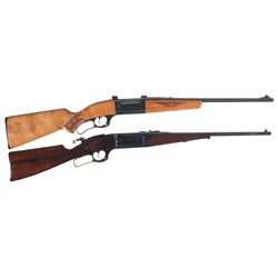 "Two Savage Model 99 Rifles -A) Savage Model 99-E ""Economy"" Lever Action Rifle"