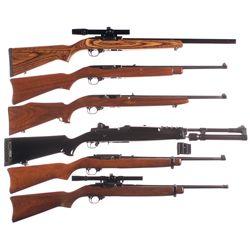 Six Ruger Semi-Automatic Long Guns -A) Ruger Model 10/22T Semi-Automatic Rifle with Scope