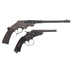 Two Pistols -A) John Peterlongo Single Shot Target Pistol