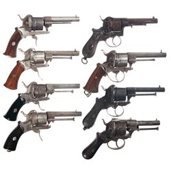 Eight Double Action Pinfire Revolvers -A) Belgian Double Action Pinfire Revolver