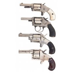 Four Revolvers -A) Defender Spur Trigger Revolver with Pearl Grips