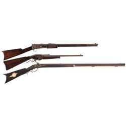 Three Antique Long Guns -A) Evans New Model Lever Action Saddle Rifle