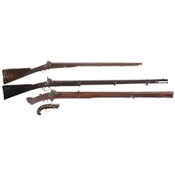 Three Antique Percussion Long Guns and A Percussion Pistol -A) Prince Marked Double Barrel Percussio