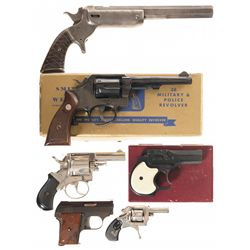 Five Hand Guns and One Pocket Rifle -A) Stevens Hunter's Pet Pocket Rifle No. 34