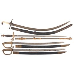Lodge Sword, Two Spanish-American War Hangers and Mameluke Saber