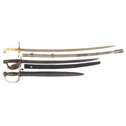 U.S. Marine Officers Sword, Ames Model 1841 Naval Cutlass, and Ames Model 1860 Cutlass with Scabbard