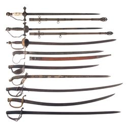 Nine Assorted Military and Fraternal Swords