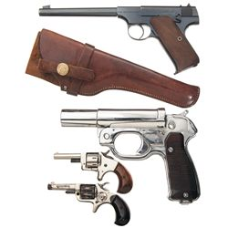 Two Revolvers, One Flare Pistol and One Semi-Automatic Pistol -A) Colt First Series Target Model Sem