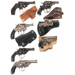 Six Double Action Revolvers and One Derringer -A) Unmarked Double Action Revolver with Holster