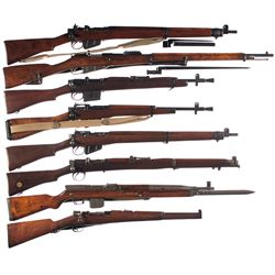 Eight Bolt Action Military Long Guns -A) U.S. Property Marked Enfield No. 4 MKI Bolt Action Rifle wi