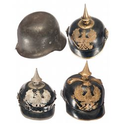 Three Pickelhaubs and One German Helmet