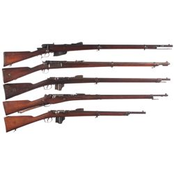 Five Bolt Action Military Rifles -A) Italian Vetterli Model 1870/87/15 Bolt Action Rifle