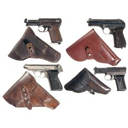 Four Semi-Automatic Pistols with Holsters -A) Mauser Model 1914 Semi-Automatic Pistol