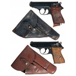 Two Walther PPK Semi-Automatic Pistols with Holsters -A) Walther PPK Semi-Automatic Pistol