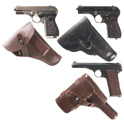 "Three WWII European Semi-Automatic Pistols with Holsters -A) Nazi Proofed CZ ""fnh"" Code Model 27 Sem"
