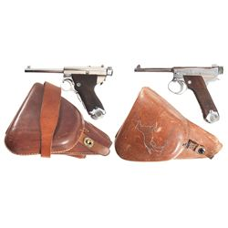 Two Japanese Semi-Automatic Pistols with Holsters -A) Rare Papa Nambu Semi-Automatic Pistol