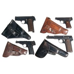 Four European Semi-Automatic Pistols with Holsters -A) Esperanza Y Unceta Model 1916 Semi-Automatic